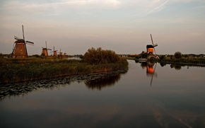 Picture the sky, the evening, channel, windmill