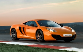 Picture orange, track, Wallpaper, twilight, McLaren MP4-12C