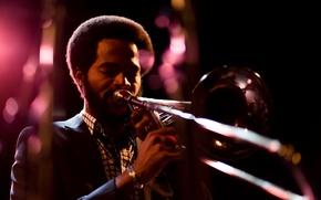 Picture night, jazz, tool, musician, music, trombone