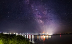 Picture stars, landscape, bridge, lights, Strait, the milky way, Mackinac Bridge, Makino
