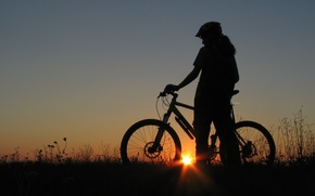 Picture girl, nature, bike, the evening, silhouette, girl, bicycle, sunsets, stands