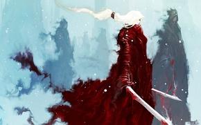Picture winter, forest, girl, snow, people, blood, smoke, figure, sword, fantasy, art, girl, sword, blood, fantasy, …