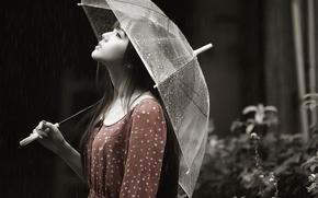 Picture girl, face, umbrella, rain, profile