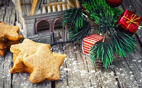 Picture holiday, toys, Board, new year, Christmas, branch, cookies, house, pine, cakes