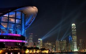 Wallpaper Hong Kong, skyscrapers, evening lights, the city