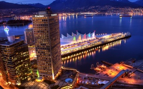 Picture sea, mountains, the city, Marina, home, the evening, Vancouver