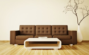 Picture table, room, sofa, interior, branch