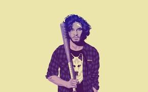 Wallpaper wolf, minimalism, shirt, bit, Game of Thrones, Game of thrones, Jon Snow, Jon Snow