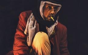 Wallpaper turban, cigarette, man
