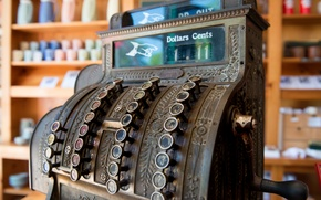 Wallpaper macro, background, Antique, Cash Register