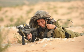 Wallpaper weapons, Israeli Defence Force, girl, soldiers