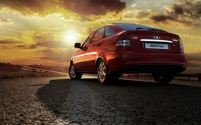 Picture Lada, background, hatchback, red, car, Wallpaper, the flagship, Lada, prior, Priora