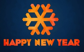 Picture the inscription, New year, Happy New Year, Snowflake, 2014