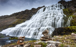 Picture rock, stones, waterfall, moss, cascade, Iceland, Flaglets