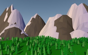 Picture trees, mountains, lowpoly