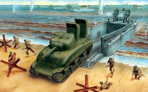 Picture sea, figure, art, soldiers, landing, M4A1, Sherman, Overlord, LCM 3, snorkle