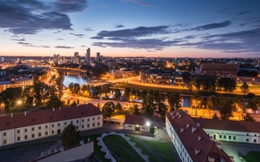 Picture panorama, night city, Lithuania, Lithuania, Vilnius, Vilnius