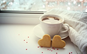 Picture love, coffee, Cup, hearts, bokeh, valentine's day