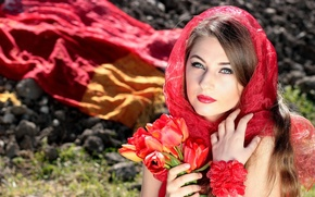 Picture girl, flowers, nature, stones, tulips, brown hair, shawl