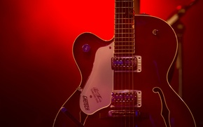 Picture guitar, strings, red light, stage