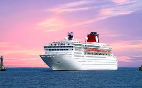 Picture sea, the sky, landscape, ship, liner