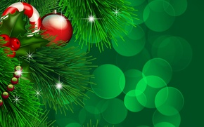 Wallpaper lights, holiday, toys, new year, spruce, vector, ball, the scenery, happy new year, christmas decoration, ...