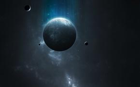 Picture dark, light, blue, planet, Sci Fi