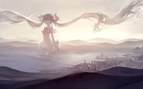 Wallpaper the sky, girl, clouds, bridge, the city, anime, art, vocaloid, hatsune miku, kklaji008