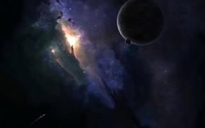 Wallpaper ship, stars, Planet