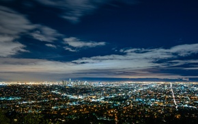 Picture lights, USA, United States, sky, night, Los Angeles, California, view, clouds, America, United States of …