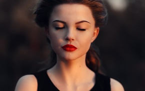 Picture girl, face, portrait, lips, he closed his eyes