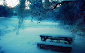 Wallpaper snow, trees, bench, Park, Winter, blur, table