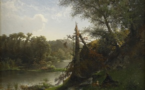 Wallpaper Alfred Valberg, River landscape with hunter and dog, river, nature