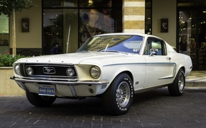 Wallpaper white, retro, Mustang, Ford, classic, Muscle car