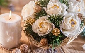 Picture basket, candle, spruce, candy, bumps, decor, composition