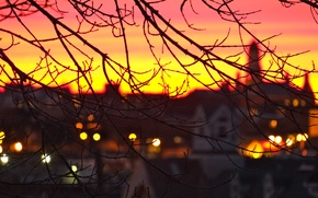 Picture sunset, lights, the evening, Gloucester, England, city, the city