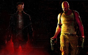 Picture weapons, background, guns, smoke, Mike, art, couples, bald, Noir, leather jacket, police, Max Payne, Max …