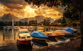 Picture clouds, mountains, treatment, boats, Ready for boarding