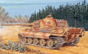 Picture figure, the second world, the Germans, the Wehrmacht, heavy tank, Ron Volstad, Royal tiger, Tiger …
