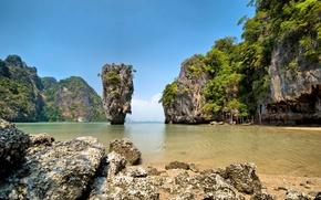 Picture landscape, the ocean, rocks, Bay, Thailand, Thailand, Laguna, James Bond Island