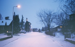 Picture street, light, lamp post, winter, home, trees