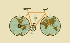Picture figure, Bike, globe