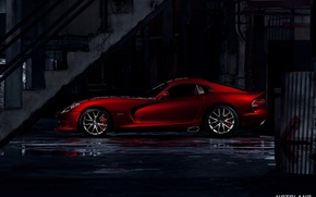Picture machine, auto, ladder, puddles, Dodge, Viper, auto, side, GTS, SRT, notbland, Webb Bland, Media Kit