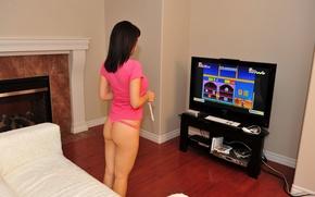 Wallpaper ass, brunette, play, plays, back, brunette, butt, back, Bryci, Super Mario Bros., super Mario