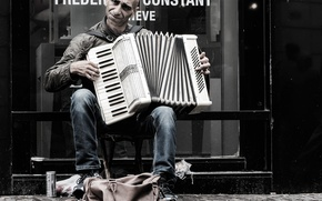 Picture street, people, Acordeon