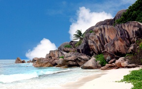 Picture sea, the sky, clouds, Palma, stones, rocks