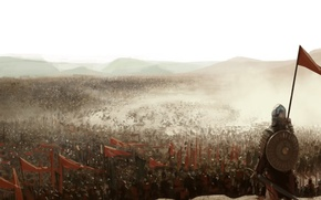 Picture war, flags, the middle ages, knights, dust army