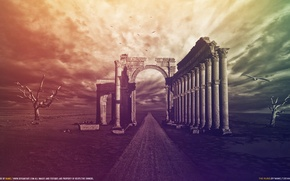 Wallpaper the sky, void, color, trees, birds, the wind, columns, ruins, wilderness, The Ruins