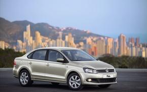 Picture asphalt, city, the city, volkswagen, before, wheels, sedan, front, Volkswagen, sedan, polo, blur, casting, metallic, …