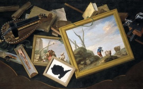 Picture collage, picture, Charles Joseph Flipart, Still life with Attributes of the Arts